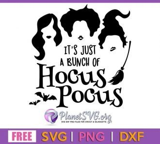 It's just a bunch of hocus pocus SVG Free File for Cricut DXF Silhouette PNG Clipart Shirt Design Download Vector Halloween Free svg
