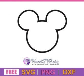 Mickey Head Outline SVG Free File for Cricut DXF Silhouette PNG Clipart Shirt Design Instant Download Vector Disney Free svg