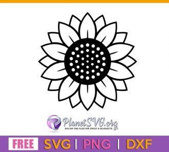 Sunflower Outline SVG Free File for Cricut DXF Silhouette PNG Clipart Shirt Design Download Vector Flower Free svg